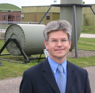 Iain Murray at RAF Lossiemouth, in front of their Upkeep