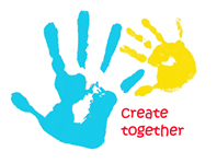 Art at the Start logo - once large hand print in blue next to a smaller yellow hand print and the words 'create together'
