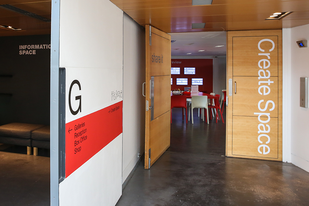 Entrance to Create Space can be found on ground level beside the lift and Information Space