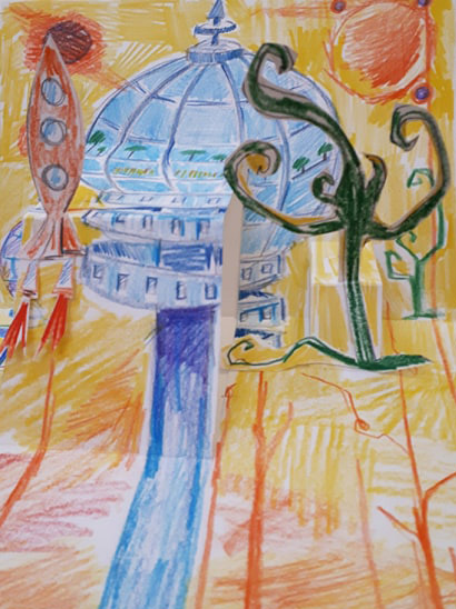 Dreamscape with building, rocket and trees