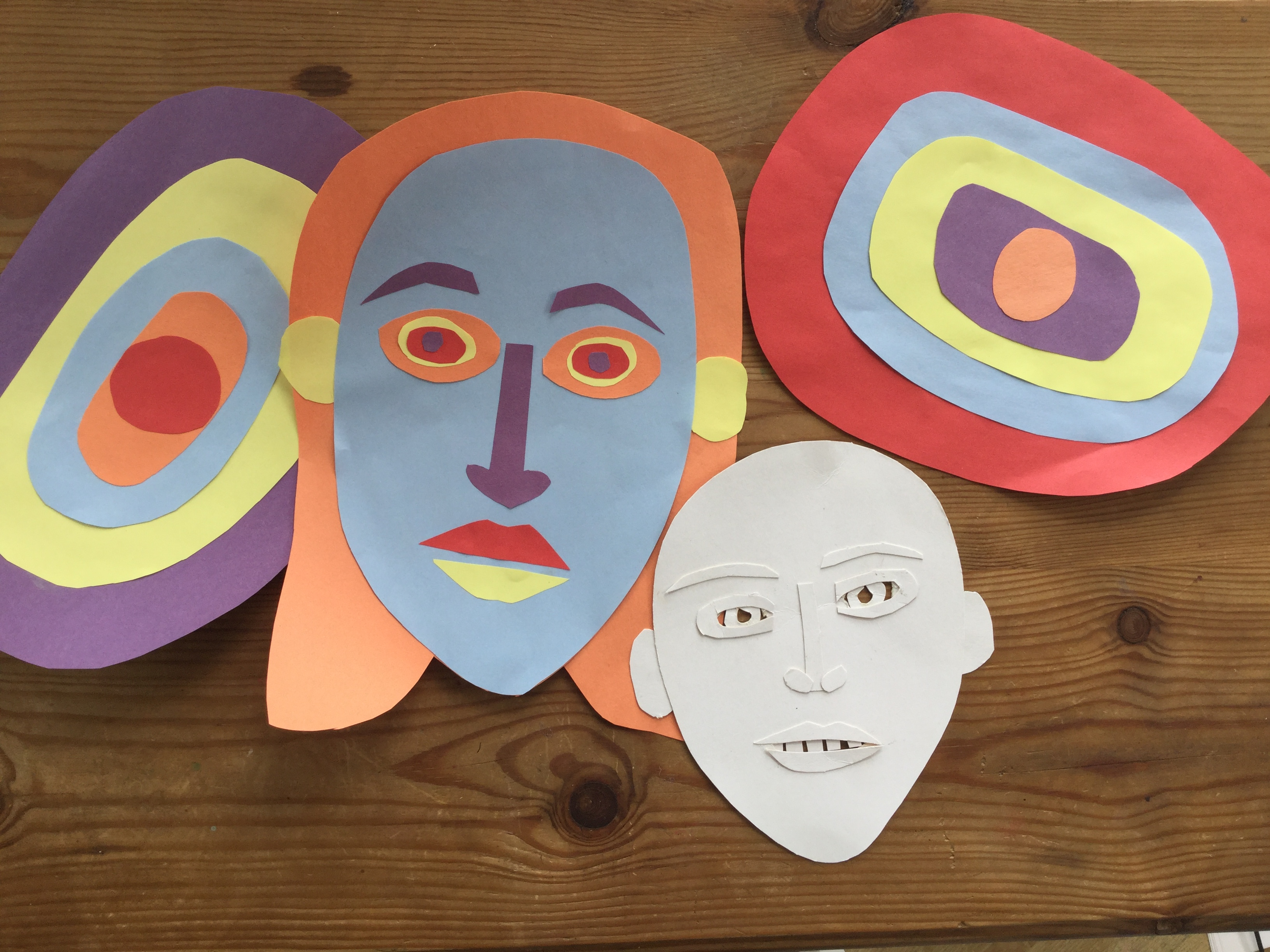 Colourful collaged eyes and portraits